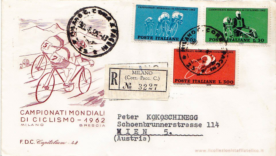 Rep San Marino 1962 Campionati Mondiali Ciclismo Fdc Cartolina Europa Briefmarken